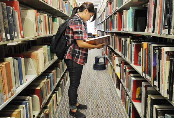 Person browsing library books