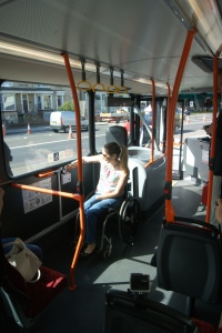 Wheelchair user on bus